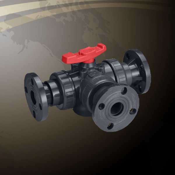 3-Way Horizontal Union Ball Valve - Flanged End