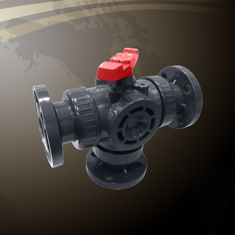 3-Way Vertical Union Ball Valve - Flanged End